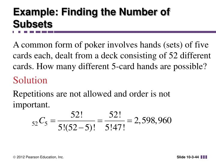 Example: Finding the Number of Subsets