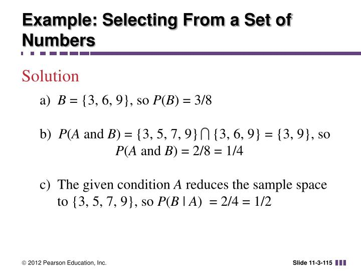 Example: Selecting From a Set of Numbers