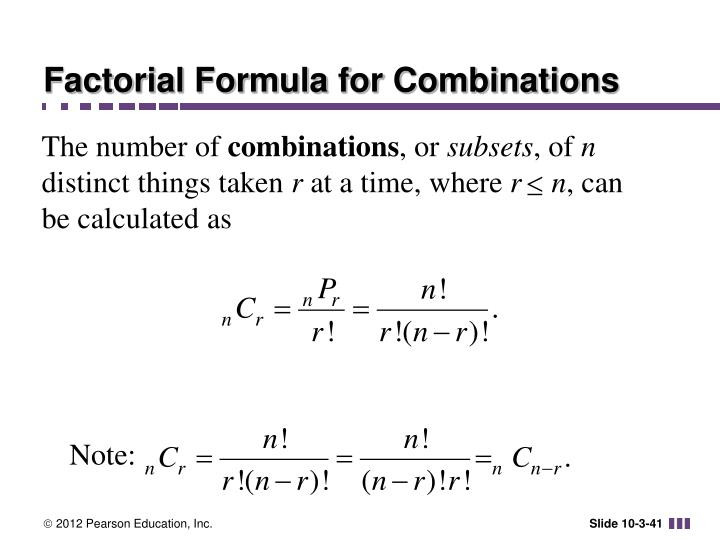Factorial Formula for Combinations