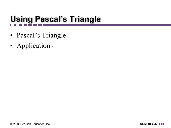 Using Pascal's Triangle