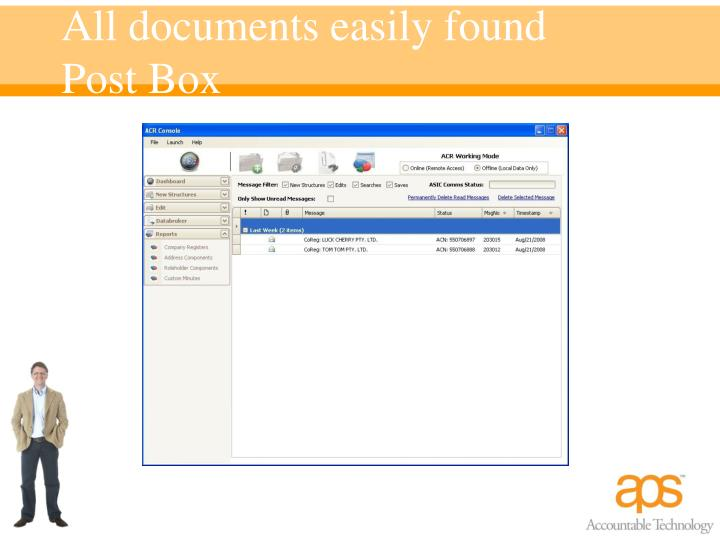 All documents easily found