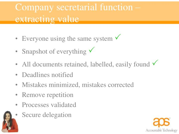 Company secretarial function – extracting value