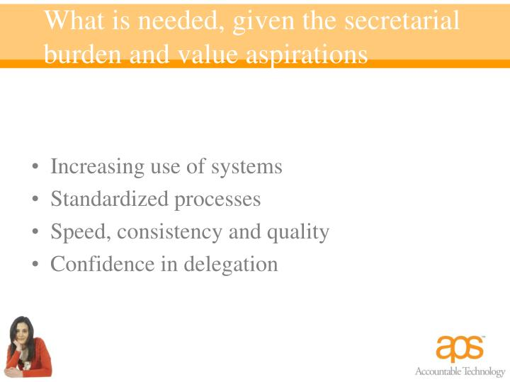 What is needed, given the secretarial burden and value aspirations