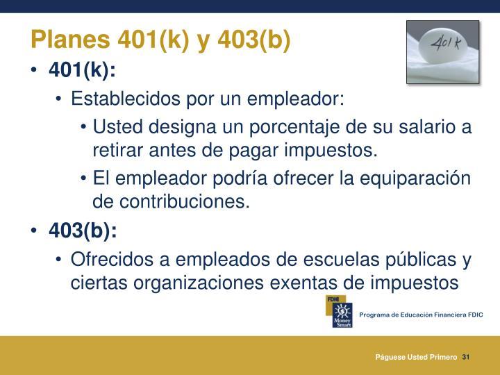 Planes 401(k) y 403(b)