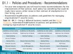 d 1 1 policies and procedures recommendations