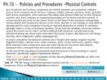 p4 10 policies and procedures physical controls