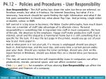 p4 12 policies and procedures user responsibility
