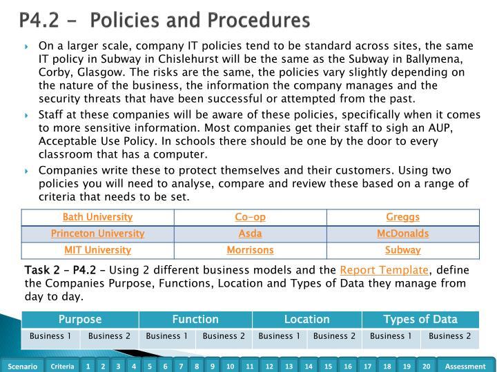 P4.2 -  Policies and Procedures