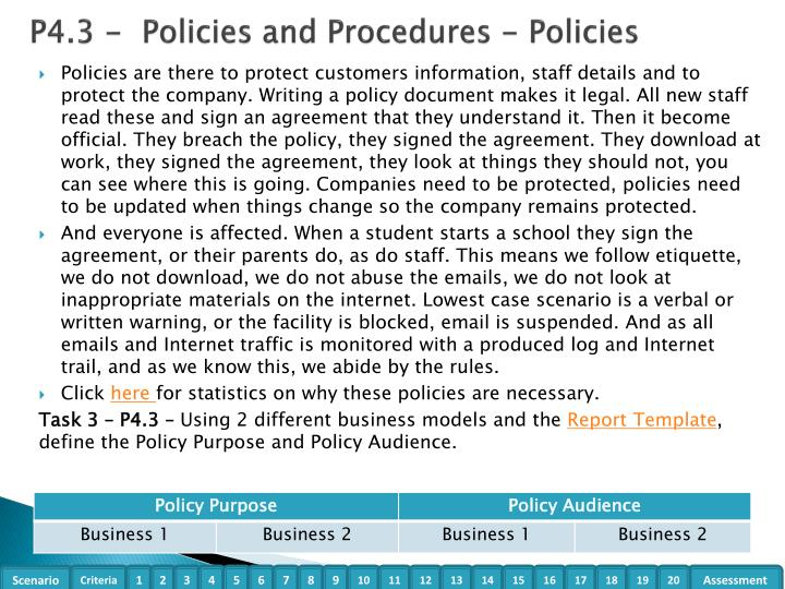 P4.3 -  Policies and Procedures - Policies