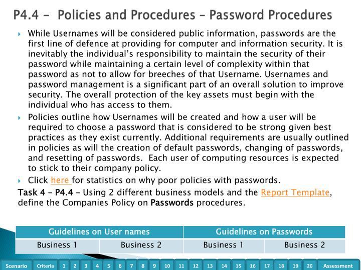 P4.4 -  Policies and Procedures – Password Procedures