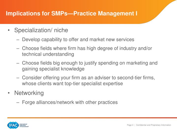Implications for SMPs—Practice Management I
