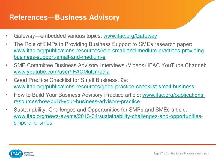 References—Business Advisory