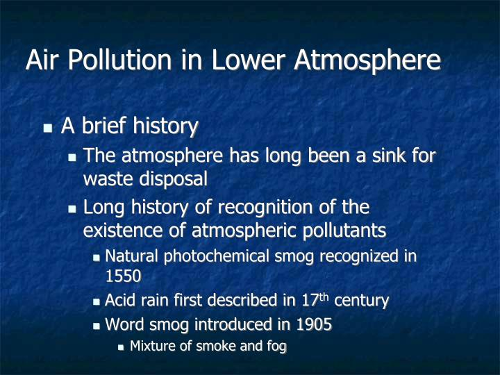 Air pollution in lower atmosphere