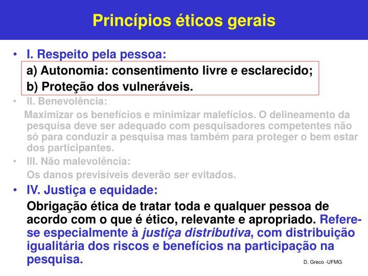Princípios éticos gerais
