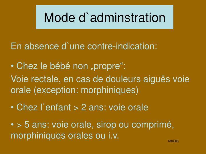 Mode d`adminstration