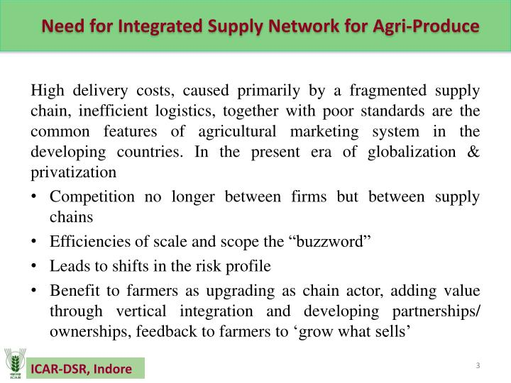 Need for integrated supply network for agri produce