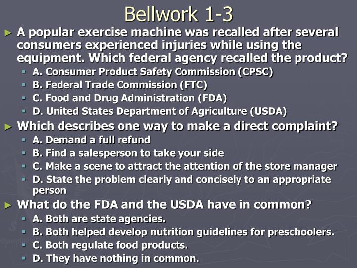 Bellwork 1-3