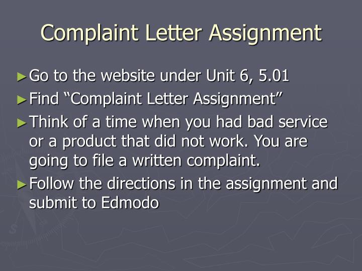 Complaint Letter Assignment