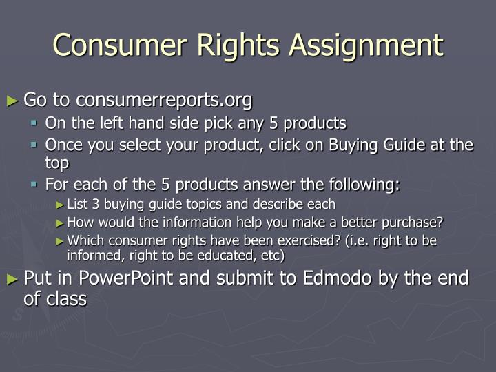 Consumer Rights Assignment