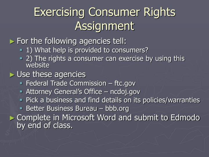 Exercising Consumer Rights Assignment