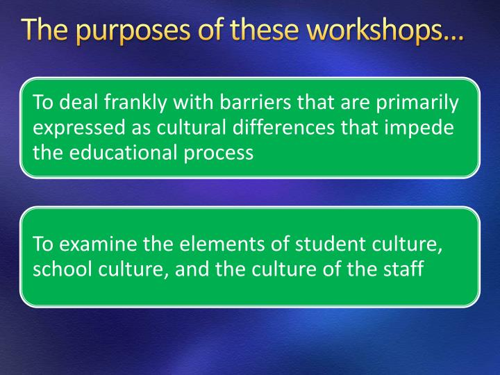 The purposes of these workshops…