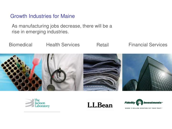 Growth Industries for Maine