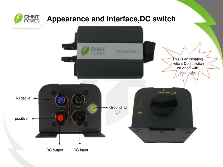 Appearance and Interface,DC switch