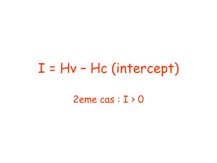 I = Hv – Hc (intercept)
