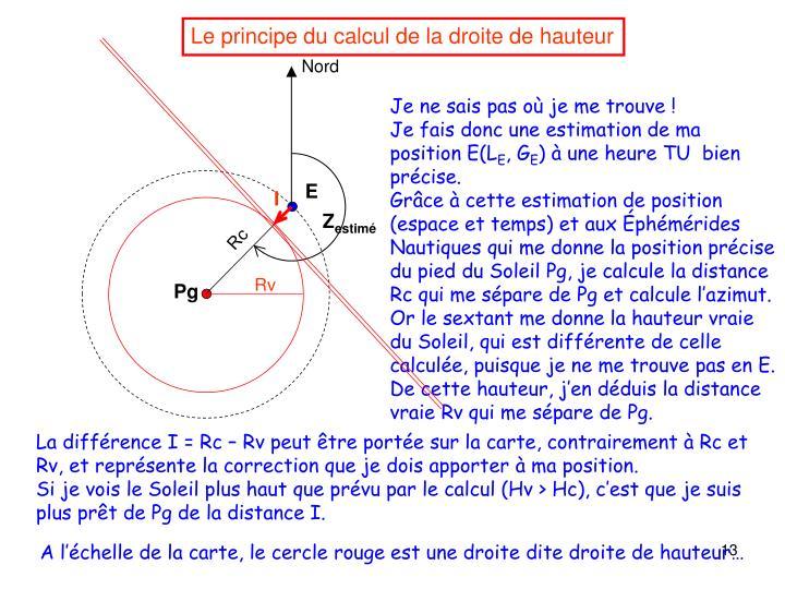 Le principe du calcul de la droite de hauteur