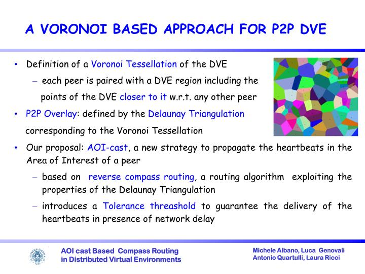 A voronoi based approach for p2p dve
