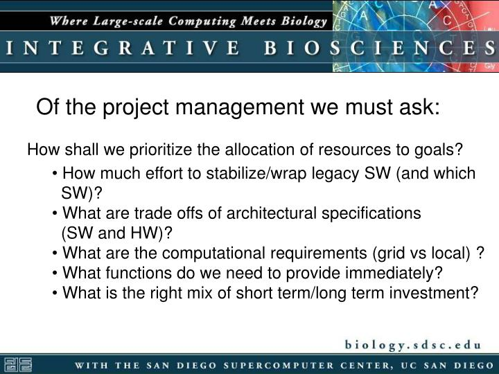 Of the project management we must ask: