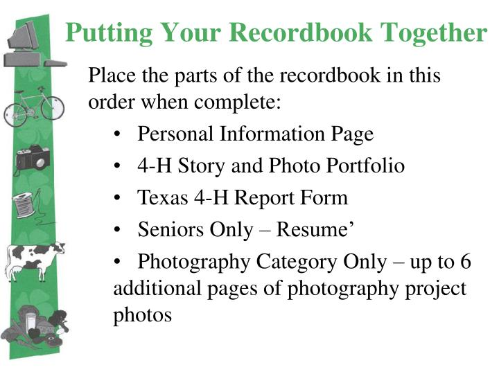 Putting Your Recordbook Together