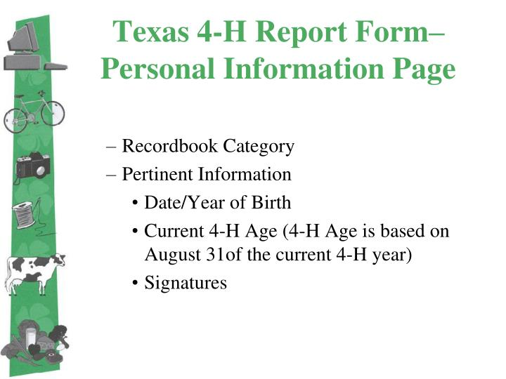 Texas 4-H Report Form– Personal Information Page
