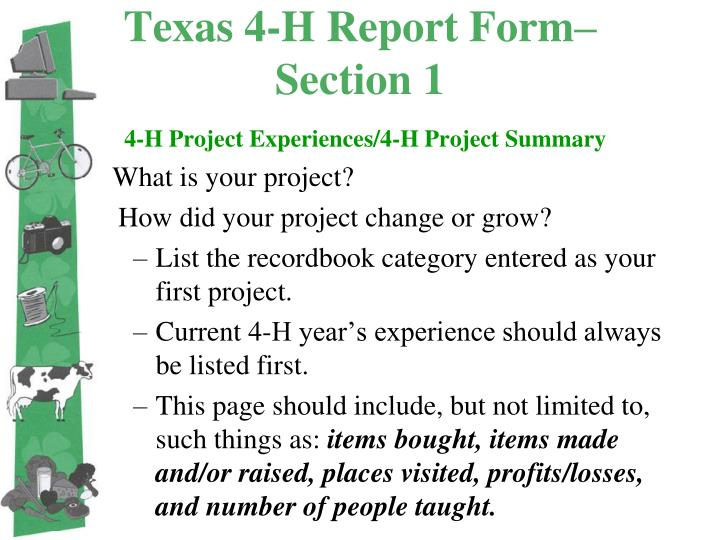 Texas 4-H Report Form– Section 1