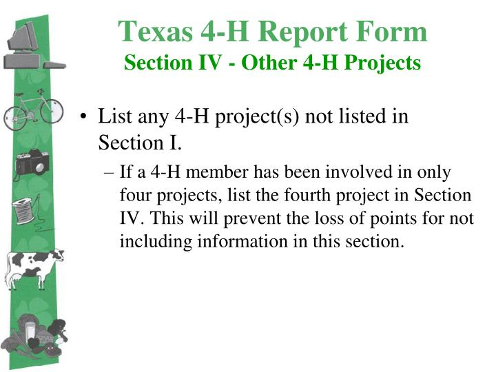 Texas 4-H Report Form