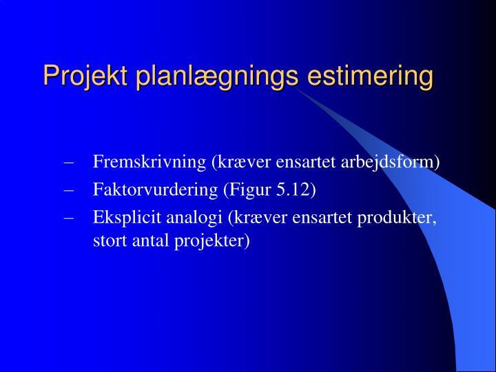 Projekt planlægnings estimering