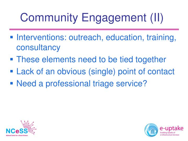 Community Engagement (II)