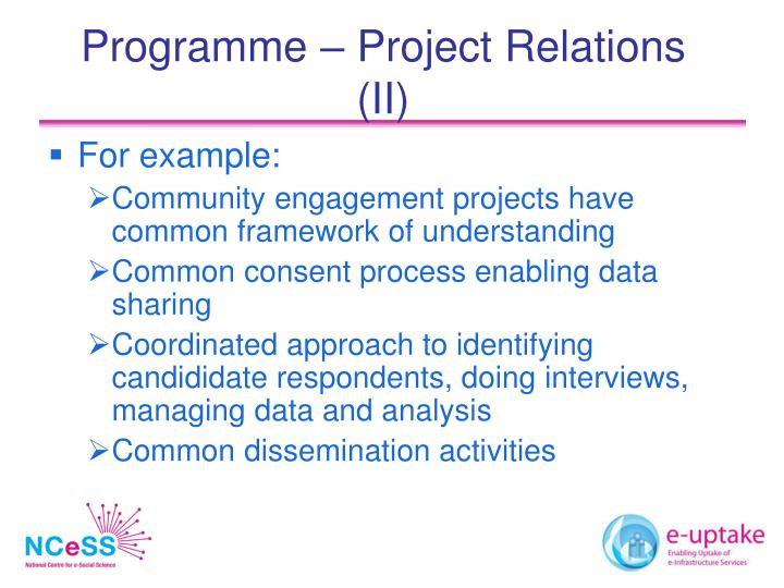 Programme – Project Relations (II)