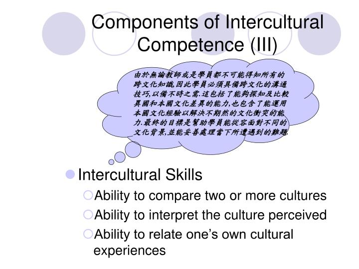 Components of Intercultural Competence (III)