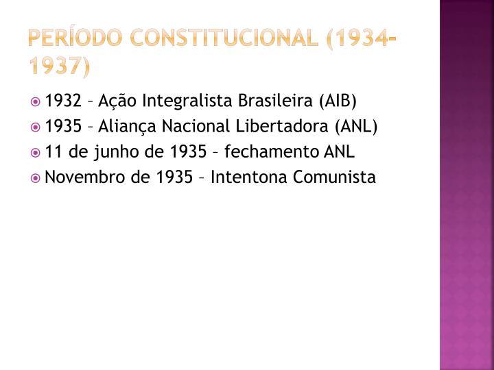 Período Constitucional (1934-1937)