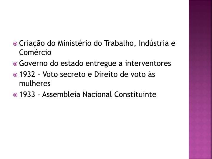 Criação do Ministério do Trabalho, Indústria e Comércio