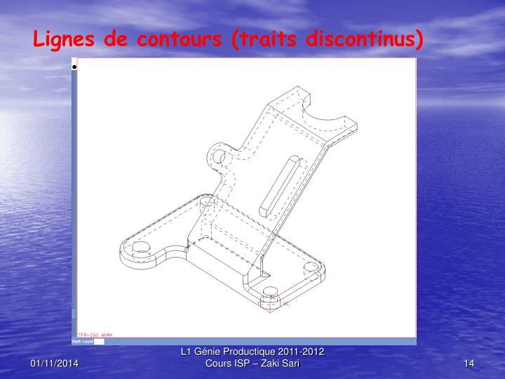 Lignes de contours (traits discontinus)