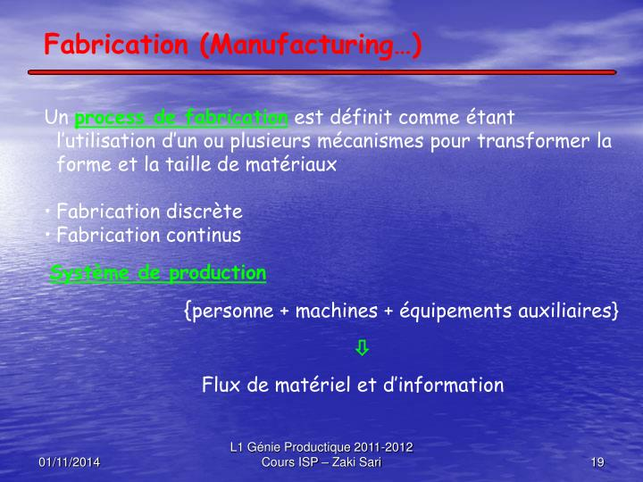Fabrication (Manufacturing…)
