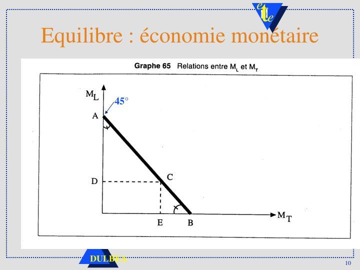 Equilibre : économie monétaire
