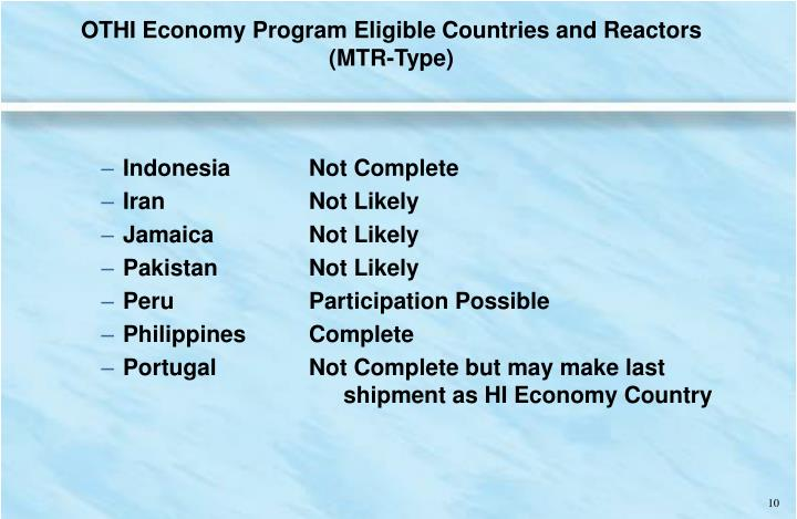 OTHI Economy Program Eligible Countries and Reactors (MTR-Type)