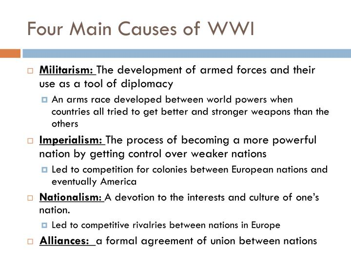 Four main causes of wwi