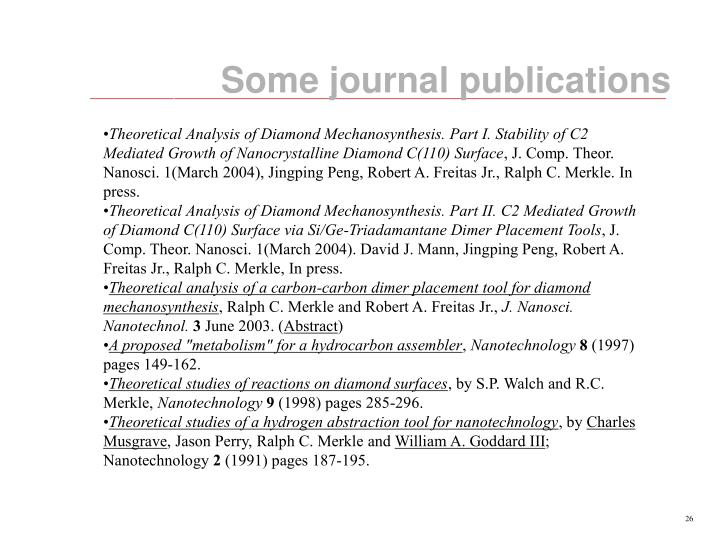 Some journal publications
