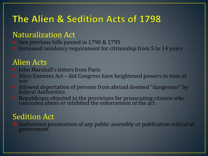 the alien and sedition acts of 1798 essay Alien and sedition acts dbq in 1798 congress passed for bills known as the alien and sedition acts - alien and sedition acts dbq introduction there were many controversies that developed around and because of these acts the alien acts had three parts.