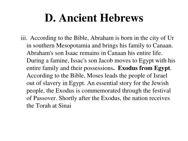 D. Ancient Hebrews