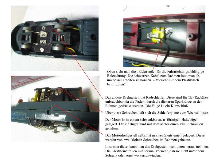 """Oben sieht man die """"Elektronik"""" für die Fahrtrichtungsabhängige Beleuchtung. Die schwarzen Kabel zum Rahmen lötet man ab, um besser arbeiten zu können. – Vorsicht mit dem Plastikdach beim Löten!!"""
